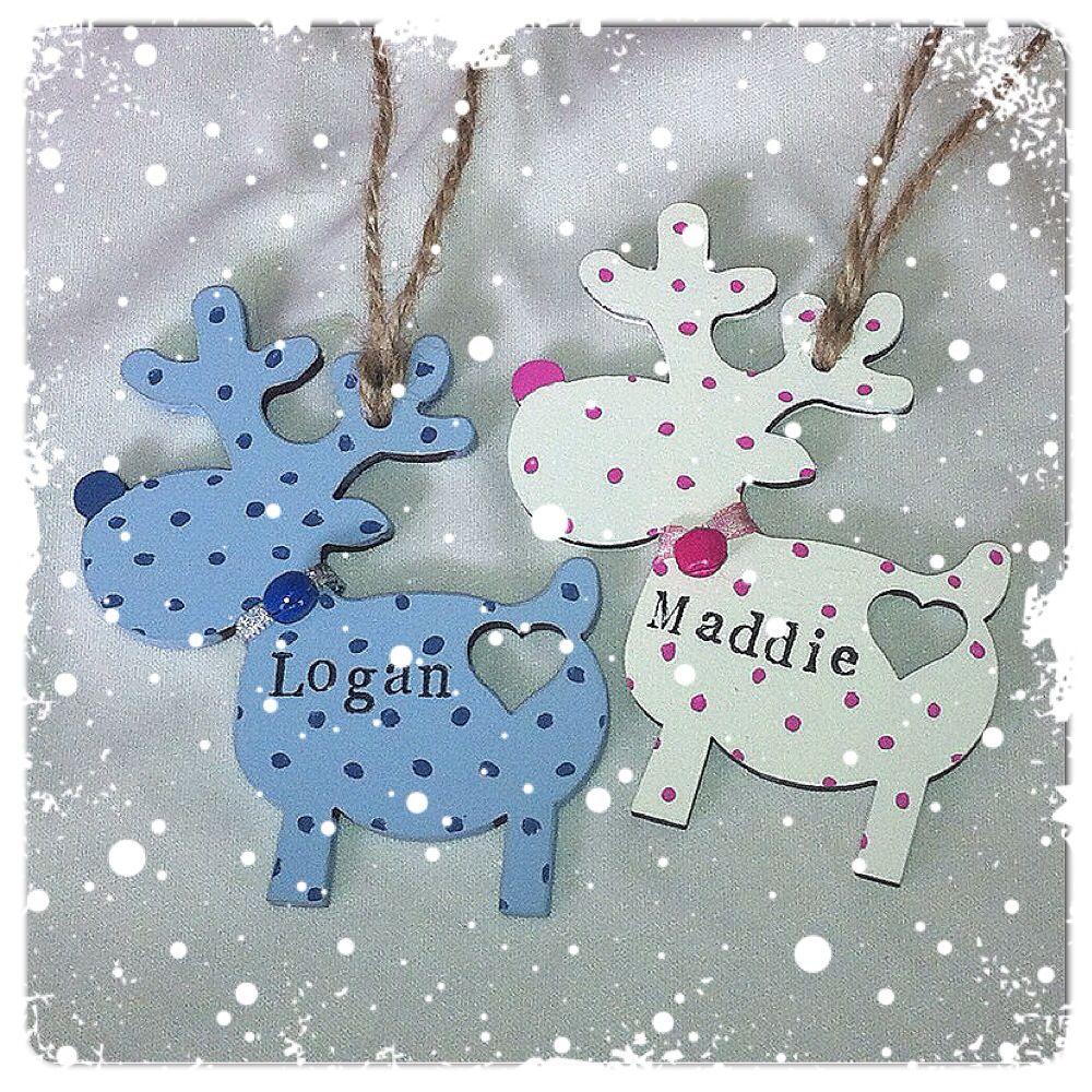 Handmade Personalised Christmas Wooden Reindeer Decoration