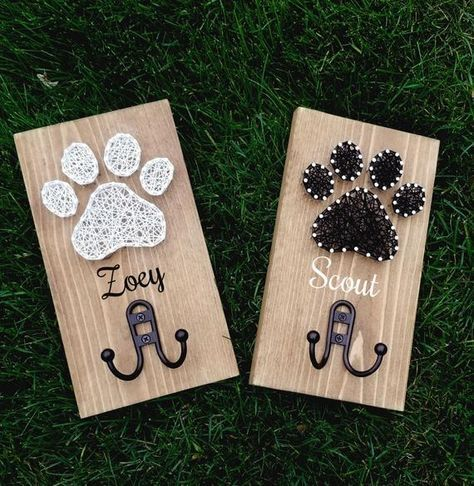String Art Paw Print Leash Holder Personalized