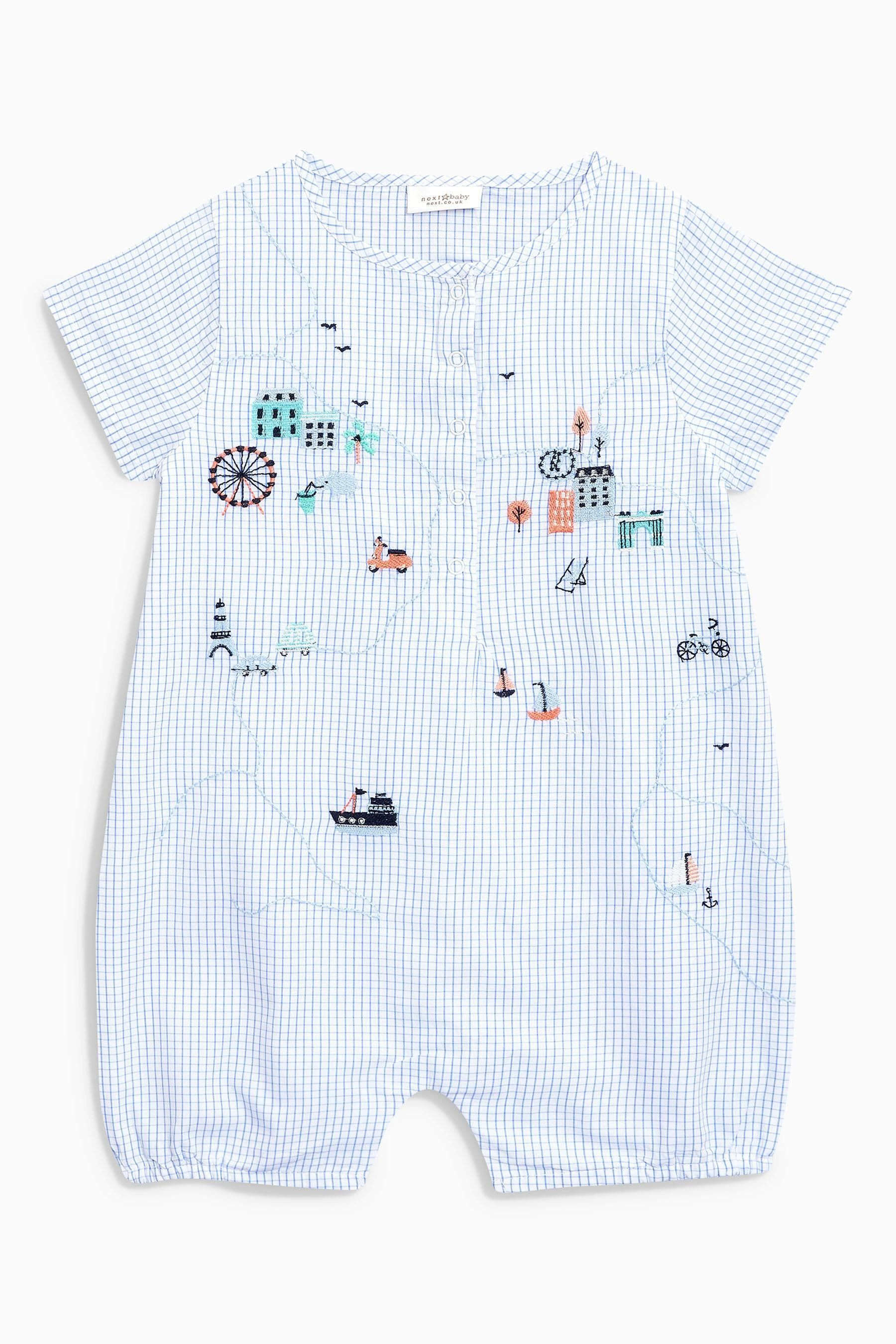 36f30bbb6 Buy Blue Embroidered Grid Romper (0mths-2yrs) from Next USA | JM SP ...