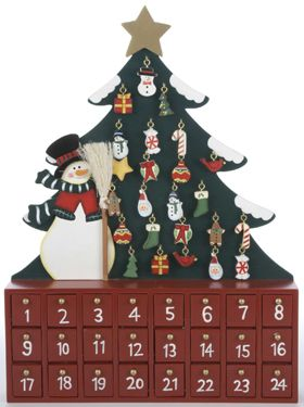 Snowman & Tree Wooden Advent Calendar | | Vermont Christmas Co. VT ...
