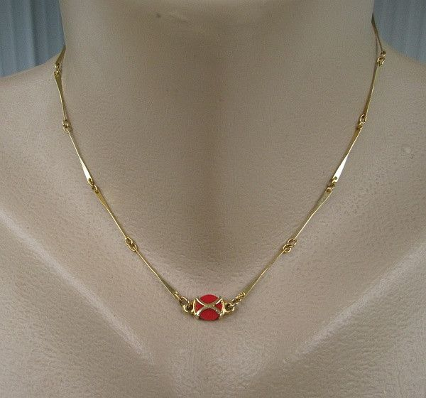 """""""station-style chain"""" -- Hobe Single Strand Necklace with Orange Accent Vintage Designer Jewelry, $30"""