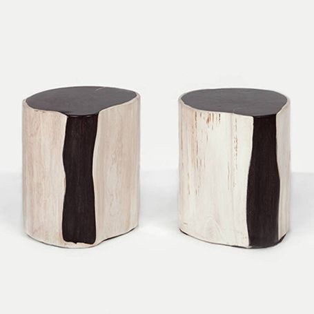 petrified wood side tables & stools | andrianna shamaris | ottomans