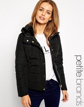 New Look Petite Padded Jacket with Faux Collar | New Look ...