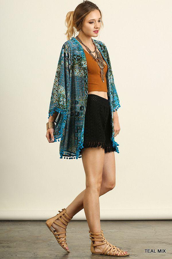 UMGEE USA A2486 Open Front Teal Kimono Jacket w/ Pom Pom Trim ...