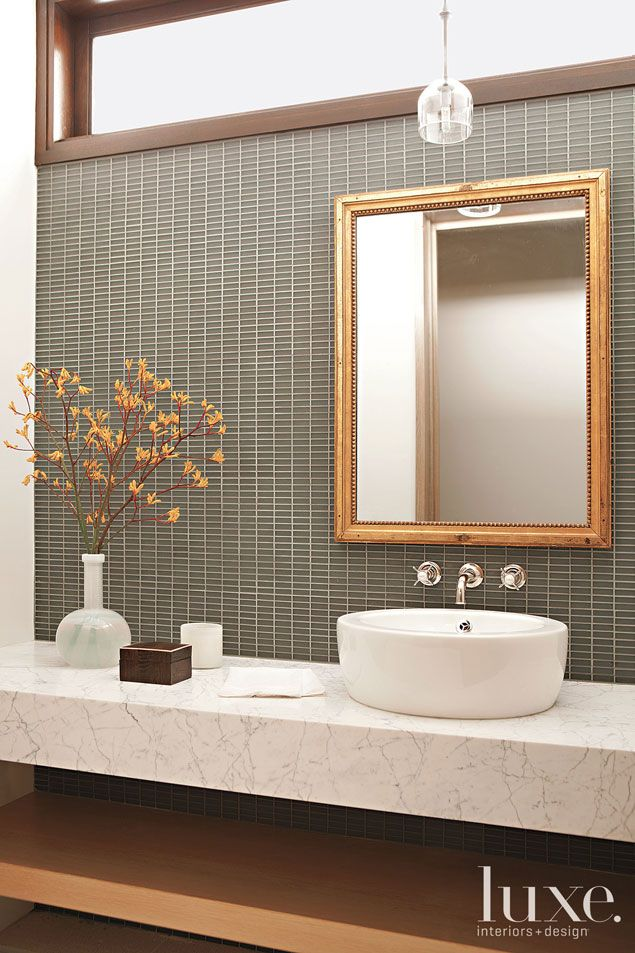 Gray And Gold Accent A Powder Room With A Glass Mosaic Backsplash Awesome Ann Sacks Glass Tile Backsplash Minimalist
