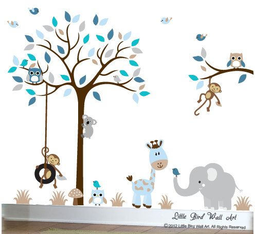 Baby Wall Decals Nursery Tree Wall Decal Grey Blue Tan Owl Decal On Etsy,  $135.00
