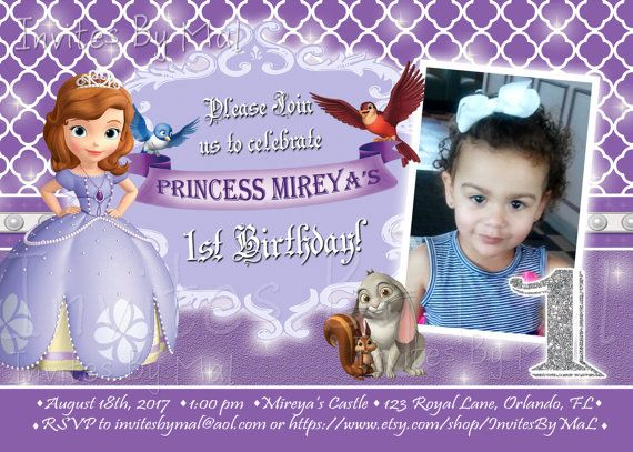 Princess Sofia The First Birthday Invitation Age Wording Fully