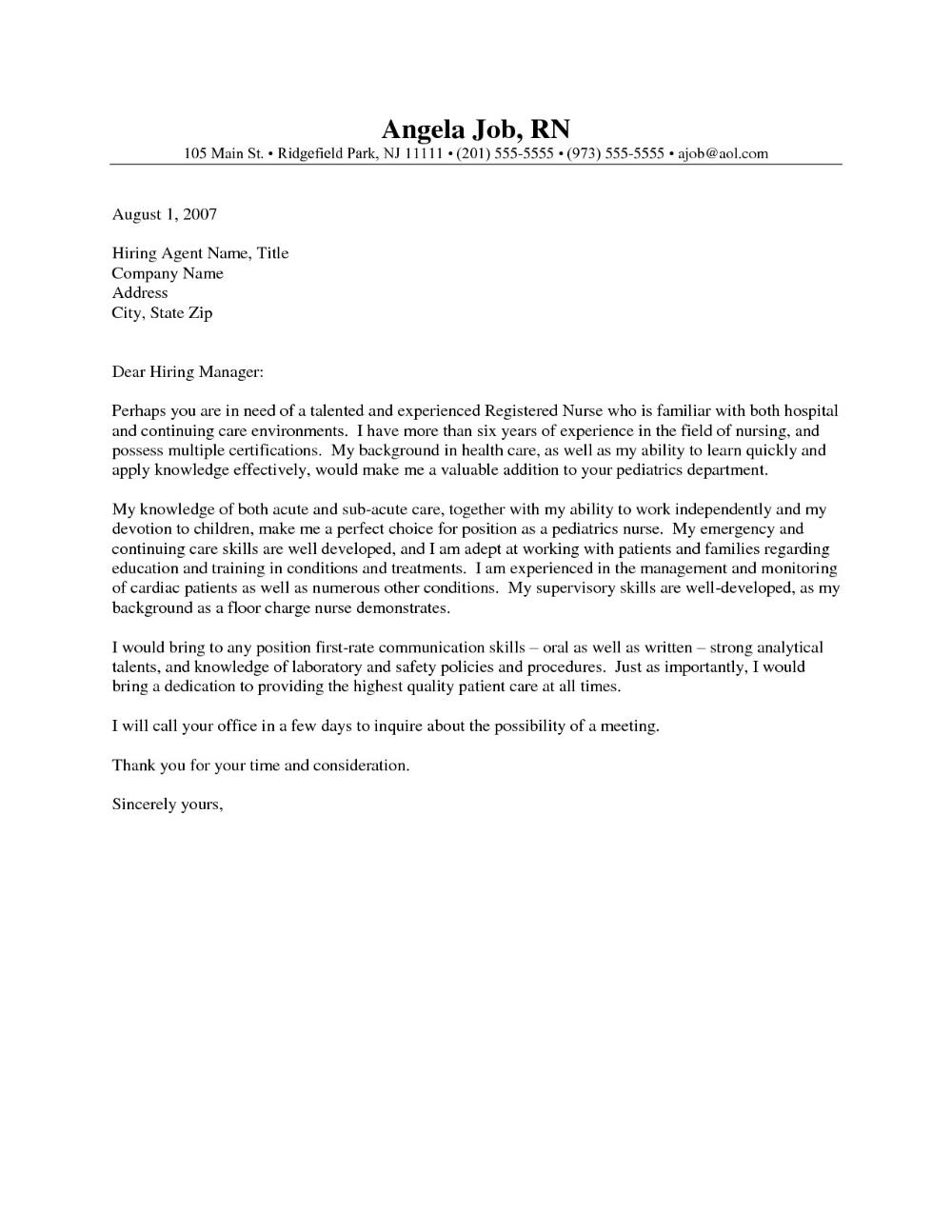 Nursing Cover Letter Template Ideas For Nurses Generic Excellent ...