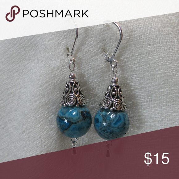 dae74aec7ae61 Crazy Lace Agate Earrings Beautiful denim blue agate paired with ...