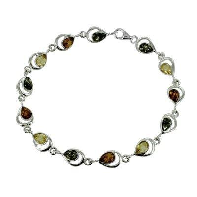 Sterling Silver Amber Thirteen Pear Multi Cutout Bezel Bracelet