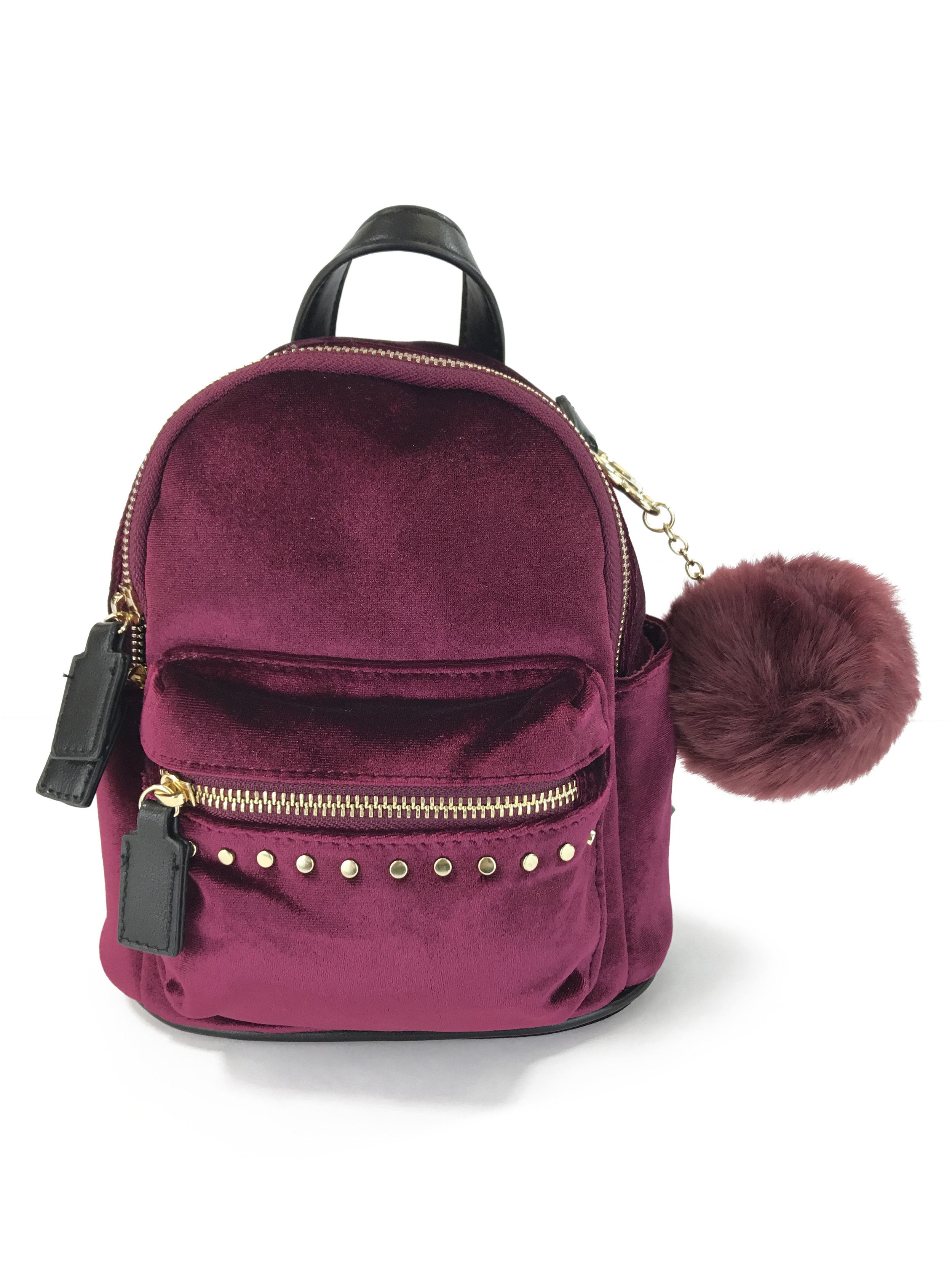 Faux fur backpack with adjustable straps, handle, inside compartments,  pockets, zipped outer . 0ebb95c4f7
