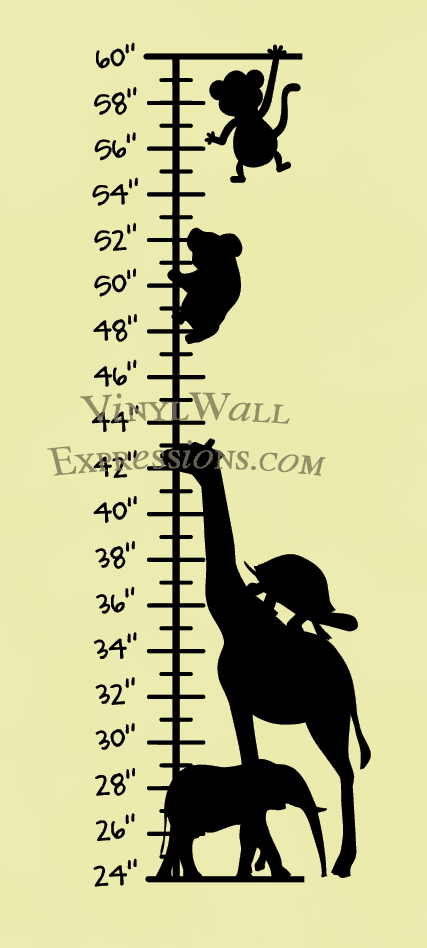 Animals growth chart vinyl wall art quotes