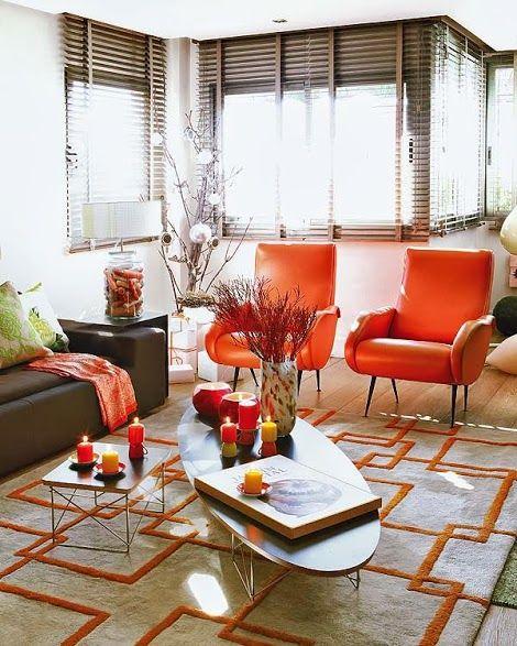 Toute une deco en orange decodesign décoration modern interiorsorange chairsinterior design