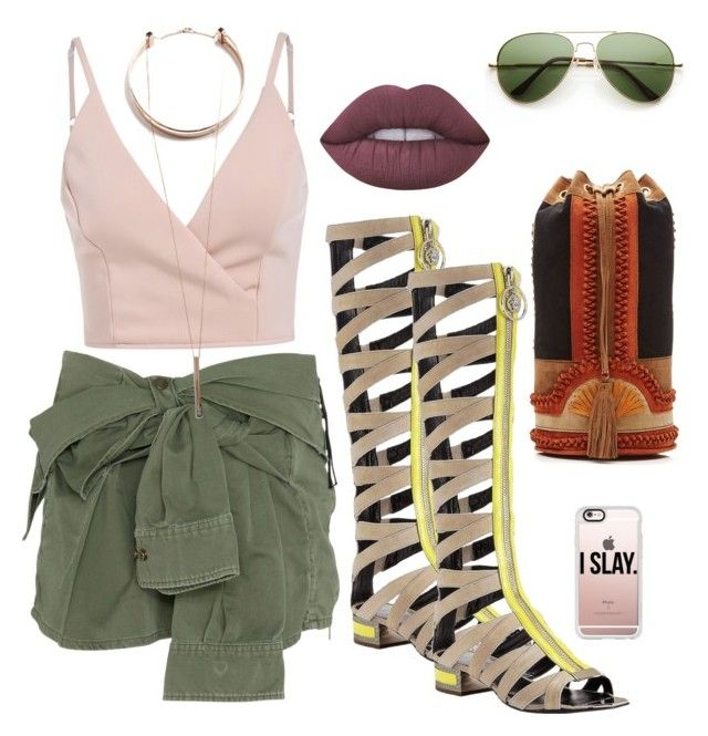 """""""Boho Slay"""" by emeraldcitylive on Polyvore featuring Faith Connexion, Lime Crime, Versace, Alberta Ferretti, Casetify and GUESS"""