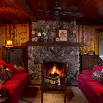 Traditional Living Room River Rock Fireplace Design Pictures