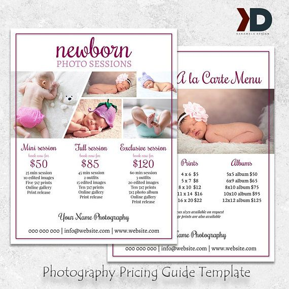 Newborn Photography Pricing Guide Template Price List Template