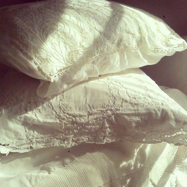 I love white pillows! #pillows #embroidery #vintage