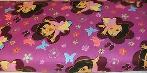 1 yd License Quilt Fabric Dora The Explorer Chasing Butterflies Purple Flowers | eBay