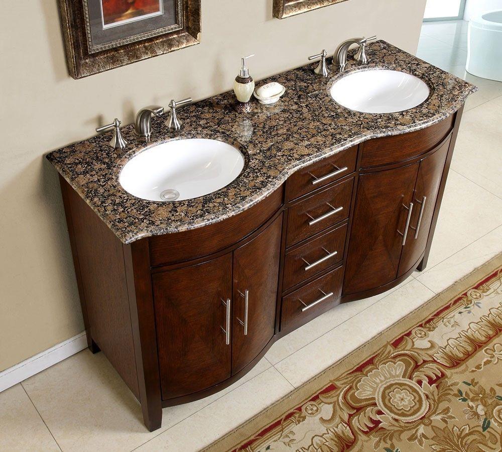 58 Granite Top Double Bathroom Vanity White Sink Cabinet 0221b 58