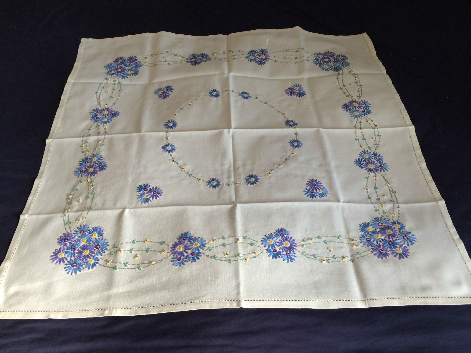 Lovely Vintage Hand Embroidered Small Square Cream Cotton Tablecloth VGC | eBay