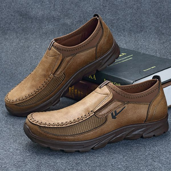 Men Large Size Hand Stitching Microfiber Leather Non-slip Casual Shoes -  NewChic Mobile | Stuff to buy | Pinterest | Hand stitching, Casual shoes  and Casual ...