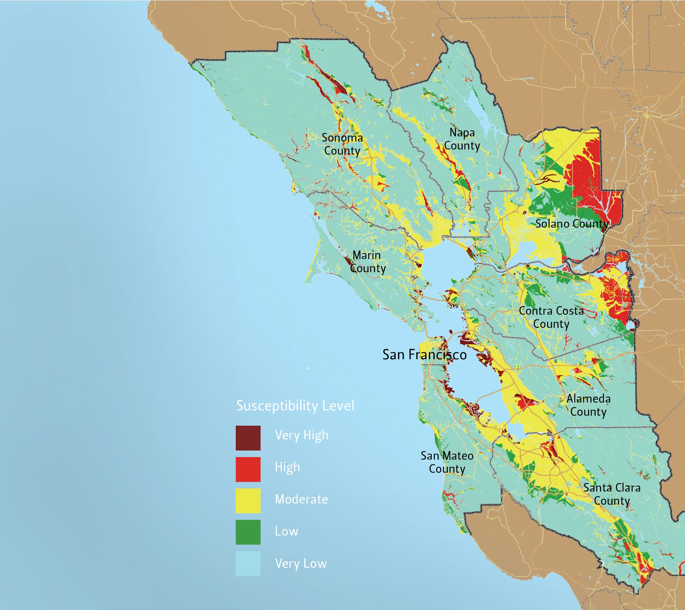 Liquefaction Map | Marin county, Sonoma county, Map