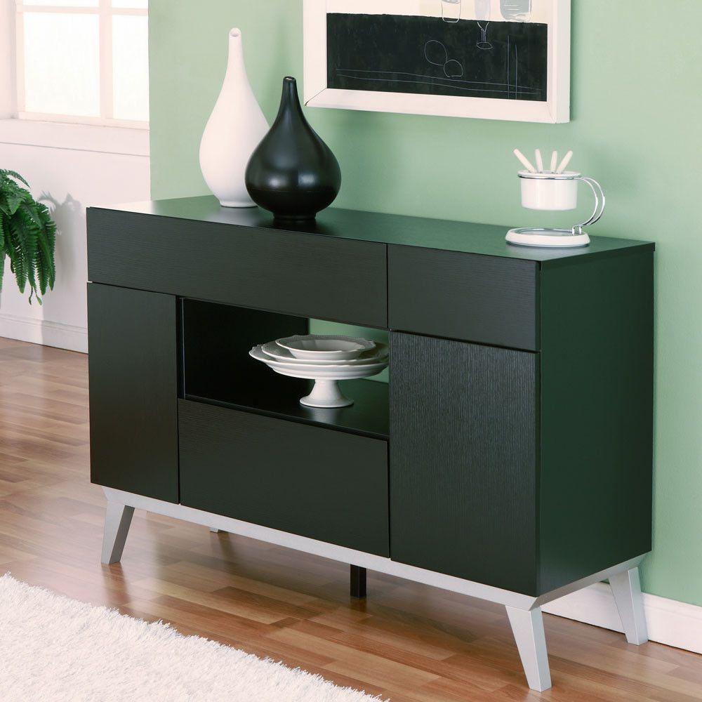 Van buren modern style black finish storage buffet cabinet