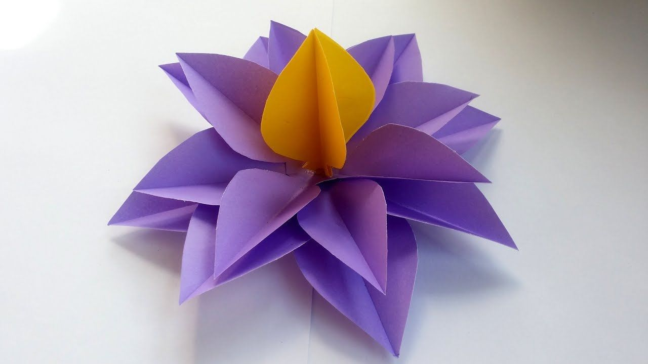 DIY How to Make Easy u Simple Origami Flower With Colour Paper