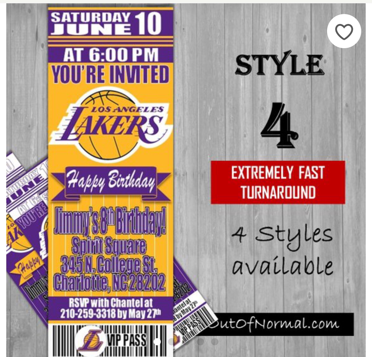 Los Angeles Lakers Basketball Ticket Style Invitation Ticket Style Invitations Basketball Birthday Invitations Ticket Invitation