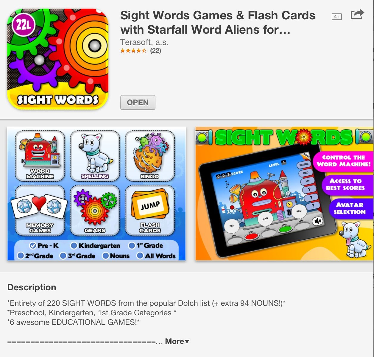 Great iPad app for sight words!! Sight word games