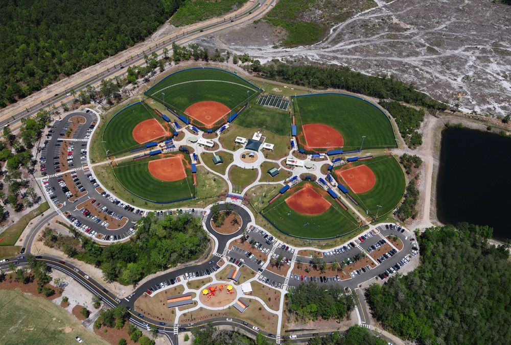 Aerial of ballfields at North Myrtle Beach Park and Sports