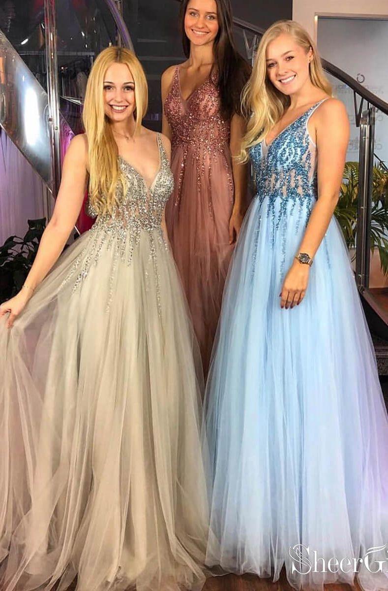 7259f4c271 Aline Vneck Beaded Bodice Tulle Long Prom Dresses APD3146 in 2019