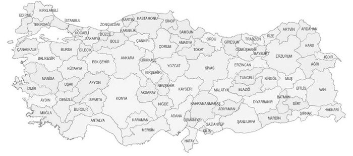 Türkiye Haritası Boyama Sayfaları