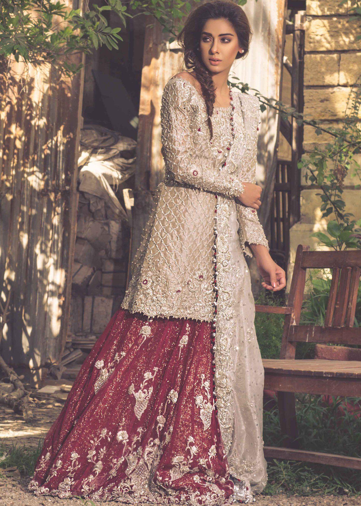 Latest pakistani bridal net lehnga for wedding j5166