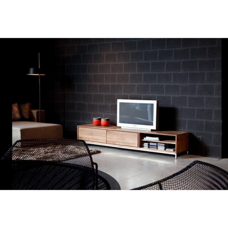 meuble tv teck massif essential 2 tiroirs - Meuble Tv Bas Teck