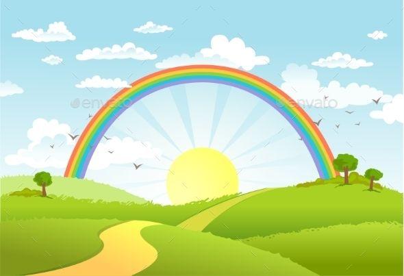 Rainbow Landscape Rural Scenes Landscape Kids Background