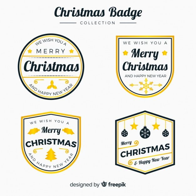Elegant Set Of Golden Christmas Labels Free Vector BEST FREE