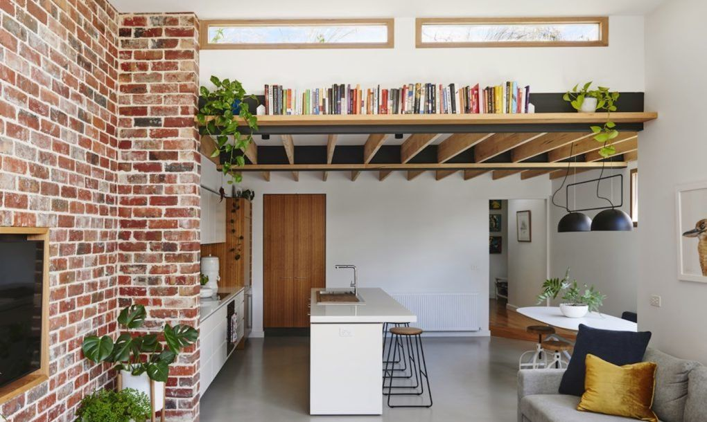 Hundred Year Old Worker S Cottage Transformed Into A Light Filled Eco Home Interiors Addict Brick Wall Living Room Design