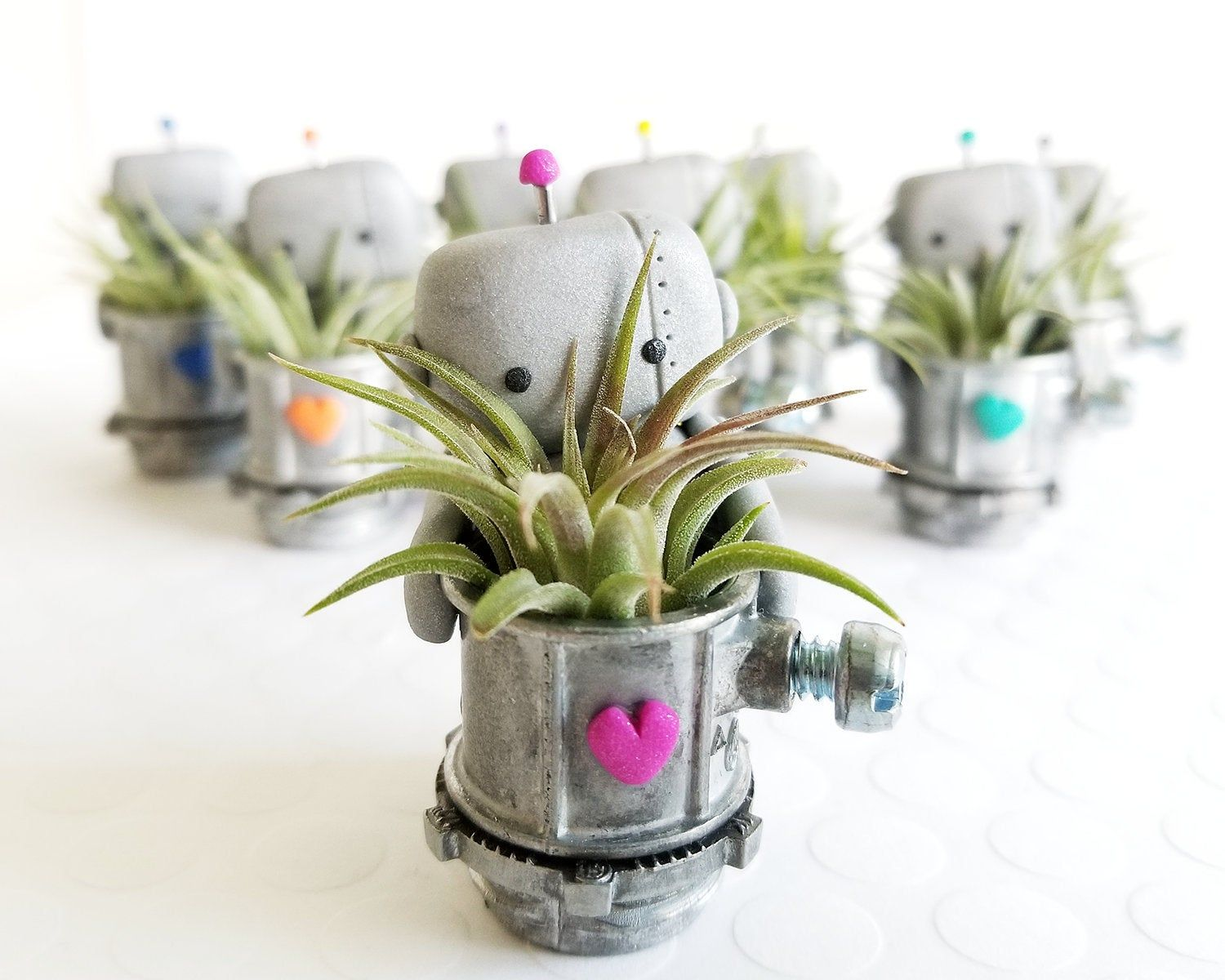 Robot Air Plant Holder, Small Desk Accessory, Robot Home