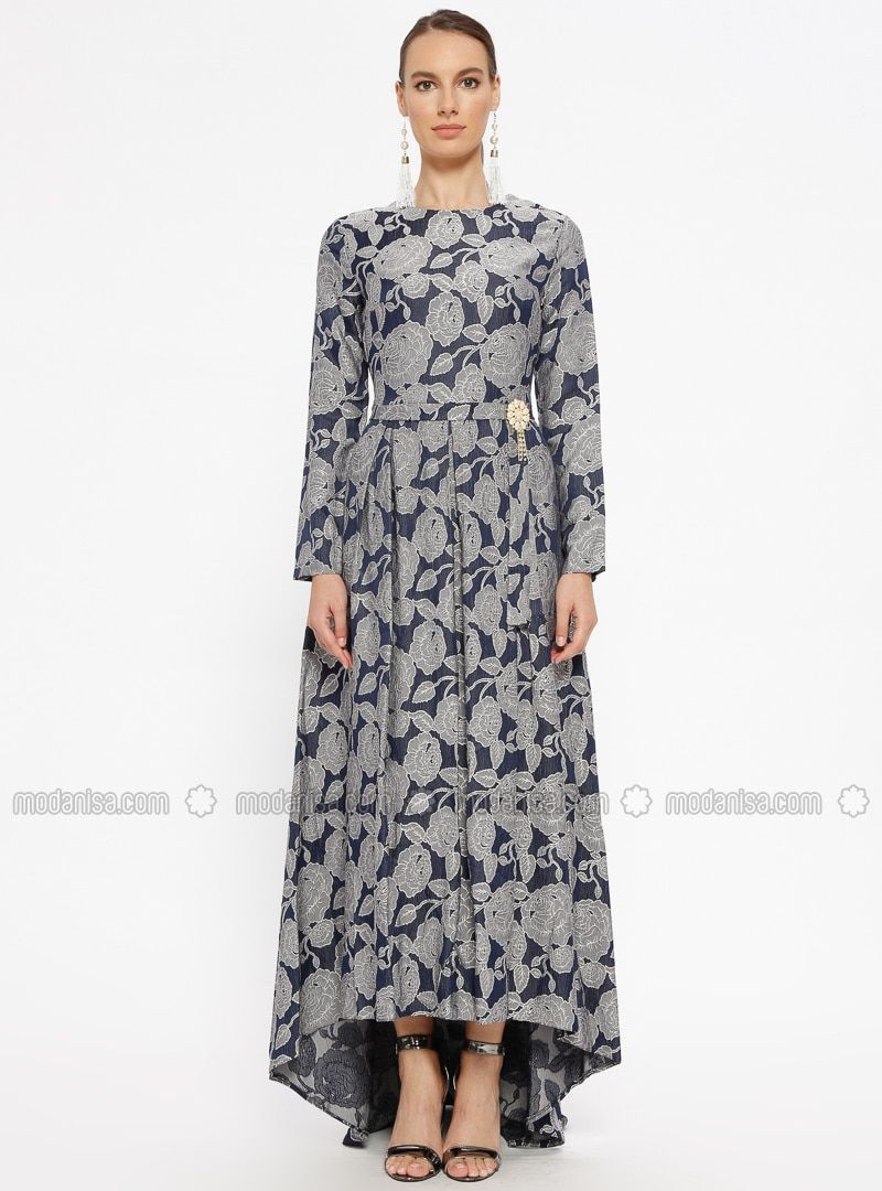 ad3a25dbeae81 Navy Blue - Multi - Unlined - Crew neck - Muslim Evening Dress ...
