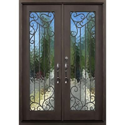 Florida Iron Doors 72 In. X 82 In. Lakeland Dark Bronze Right Hand Outswing  Painted Iron Prehung Front Door W/ Privacy Glass And   The Home Depot