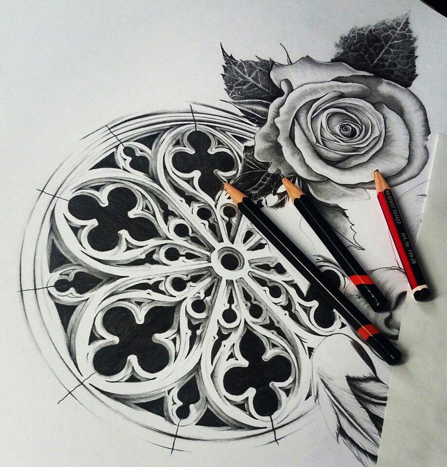 Graphite Church Window Tattoo Design | Tattoos ...