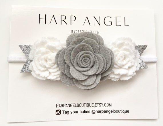 Silver Gray & White Rose Felt Flower Crown Headband or Hair Clip Newborn / Baby / Girls / Adult #crownheadband
