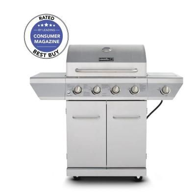 Nexgrill 4 Burner Propane Gas Grill In Stainless Steel With Side Burner And Stainless Steel Doors 720 0830h Propane Gas Grill Stainless Steel Doors Grilling