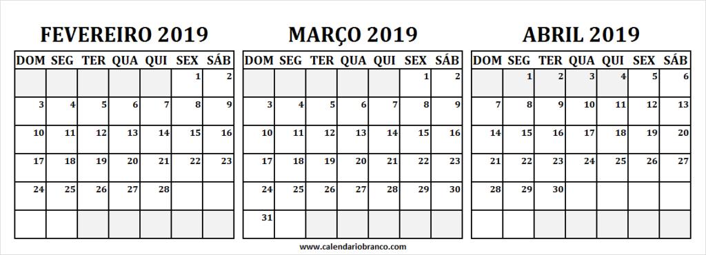 Calendario Fevereiro Marco E Abril 2019 Para Imprimir Modelos De