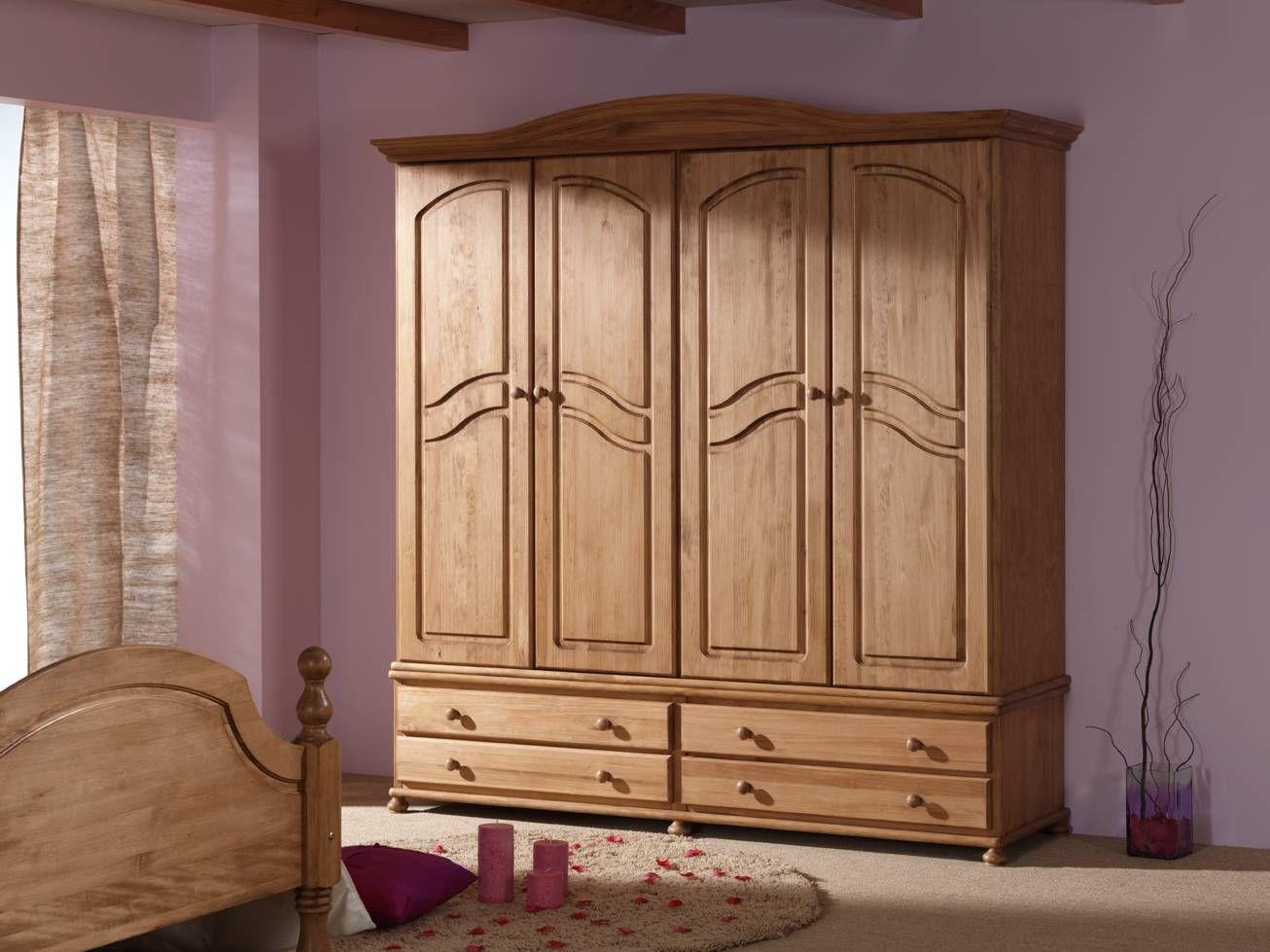 Roperos de madera hogar pinterest ropero de madera for Armarios roperos para habitaciones pequenas