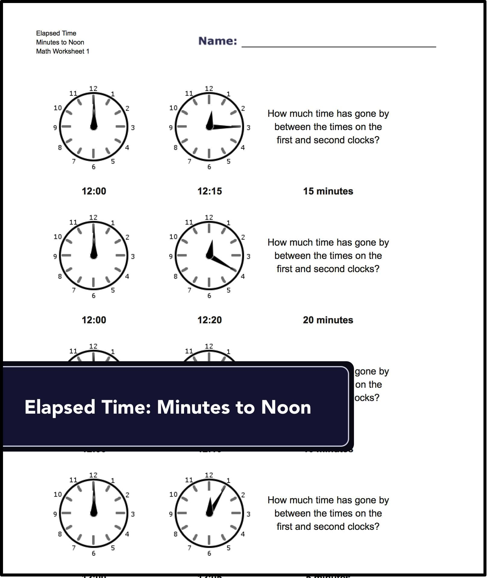 Looking for this? Elapsed time worksheets available at www