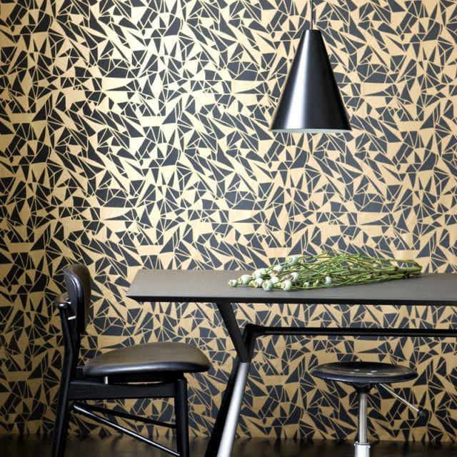 Wände mit Tapeten-gestalten ideen geometrische muster ...
