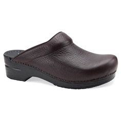 A traditional open-back #clog for men, in Brown and Black Bullhide.