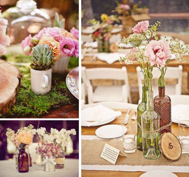 Centros de mesa originales para bodas Pinterest Centros de mesa